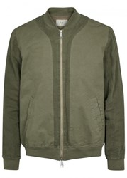 Folk Olive Linen And Cotton Bomber Jacket