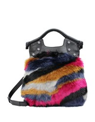 Foley Corinna Phoebe Lady Leather And Faux Fur Tote Multi Colored
