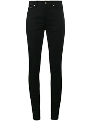 Saint Laurent Original Mid Waist Skinny Jeans Cotton Spandex Elastane Black