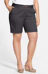 Plus Size Women's Sejour 'Addison' Stretch Twill Bermuda Shorts Grey Ebony