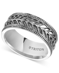 Triton Men's Sterling Silver Ring 10Mm Leaf Pattern Wedding Band