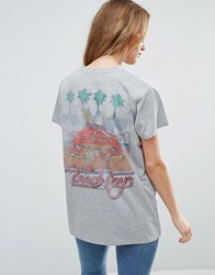 Asos T Shirt With Beach Boys Print Grey Marl