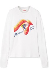 Solid And Striped Re Done The Montauk Printed Slub Cotton Jersey Top White