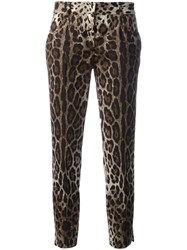 Dolce And Gabbana Leopard Print Cropped Trousers Nude Neutrals