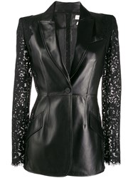 Alexander Mcqueen Lace Sleeve Leather Jackets 60