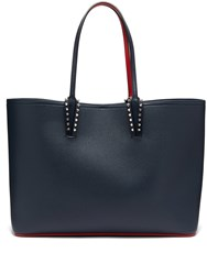 Christian Louboutin Cabata Spike Embellished Leather Tote Navy