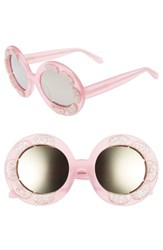 Vow London Women's Pixie Flower 48Mm Round Sunglasses Milky Pink