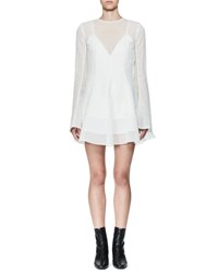 Olivier Theyskens Tentel Long Sleeve Organza Dress White