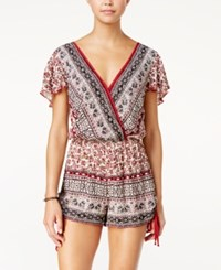 American Rag Printed Surplice Romper Only At Macy's Zinfandel Combo