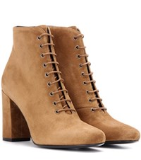 Saint Laurent Babies 90 Suede Ankle Boots Brown