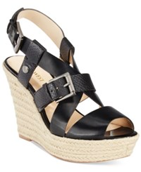 Nine West Jentri Strappy Espadrille Platform Wedge Sandals Women's Shoes Black