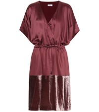 Brunello Cucinelli Satin And Velvet Dress Purple