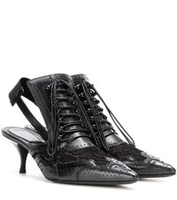 Givenchy Leather And Lace Kitten Heel Pumps Black