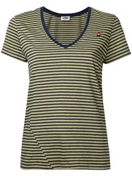 Sonia Rykiel By V Neck Striped T Shirt Yellow Orange