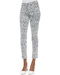 Cj By Cookie Johnson Wisdom Skinny Ankle Jeans Snow Leopard Print