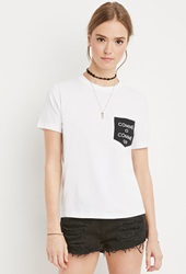 Forever 21 Comme Graphic Pocket Tee White Black