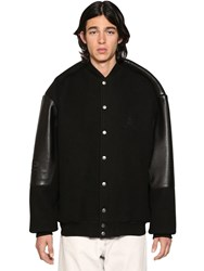 Balenciaga Pinched Sleeves Leather College Jacket Black