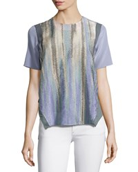 Prabal Gurung Floating Seam T Shirt Blouse Midnight Purple
