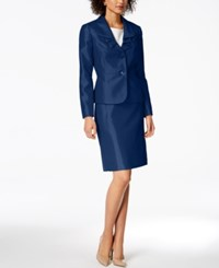 Le Suit Ruffle Lapel Skirt Regular And Petite Navy