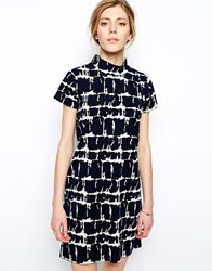 Libertine Libertine Walker Dress In Tile Print Offwhitenavy