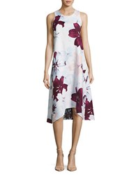 Lord And Taylor Sleeveless Floral Print Asymmetric Dress Purple