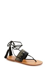 Soludos Embroidered Lace Up Flat Sandal Black