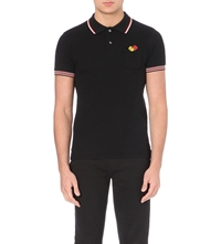 Iceberg Mickey Mouse Pocket Cotton Polo Shirt Black