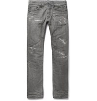 Fabric Brand And Co Slim Fit Distressed Selvedge Denim Jeans Gray