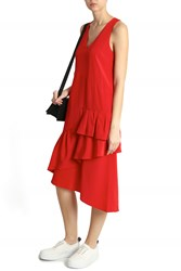 Tibi Ruffle Asymmetrical Dress Red