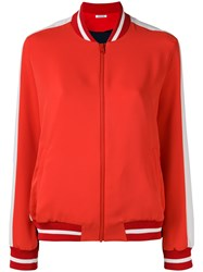 P.A.R.O.S.H. Contrast Panel Bomber Jacket Red
