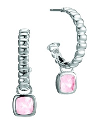 John Hardy Batu Bedeg Silver Square Hoop Drop Earrings With Rose Quartz