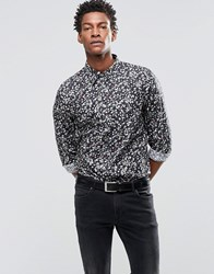 Paul Smith Shirt With All Over Holepunch Print In Tailored Slim Fit Black