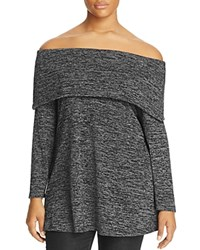 Nally And Millie Plus Space Dye Off The Shoulder Tunic Grey