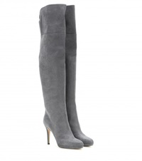 Jimmy Choo Gypsy Embossed Leather Over The Knee Boots Grey