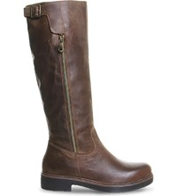 Office Eagle Leather Knee High Boots Brown Leather