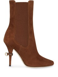 Burberry D Ring Detail Suede Ankle Boots Brown