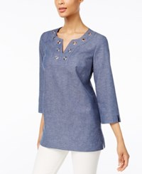 Jm Collection Grommet Trim Tunic Only At Macy's Chambray