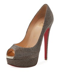 Christian Louboutin Lady Peep Glitter Chain Red Sole Pump Gray
