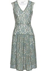 W118 By Walter Baker Woman Vanya Layered Corded Lace And Jersey Dress Grey Green