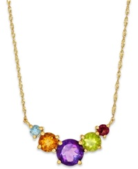 Macy's Multicolor 5 Stone Necklace In 10K Gold