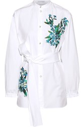 Jonathan Saunders Alex Embroidered Cotton Poplin Shirt White