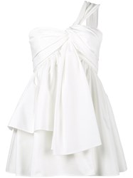 Adeam One Shoulder Knotted Bustier Top Cotton Polyester White