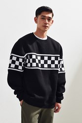 Urban Outfitters Check Block Crew Neck Sweatshirt Black