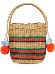 Sophie Anderson Cinto Striped Wicker Basket Bag Multi