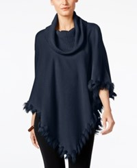Alfani Faux Fur Trim Poncho Sweater Only At Macy's Navy Nautical