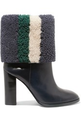 Tory Burch Bamford Striped Shearling And Leather Boots Navy