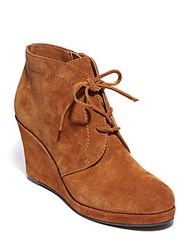 Dolce Vita Pace Suede Wedge Booties Cognac