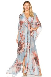 Adriana Degreas Maxi Flower Kaftan Blue