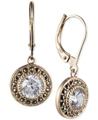 Judith Jack Yellow Gold Plated Marcasite And Cubic Zirconia Leverback Drop Earrings