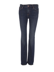 Lands' End Mid Rise Straight Leg Jeans Indigo Marl